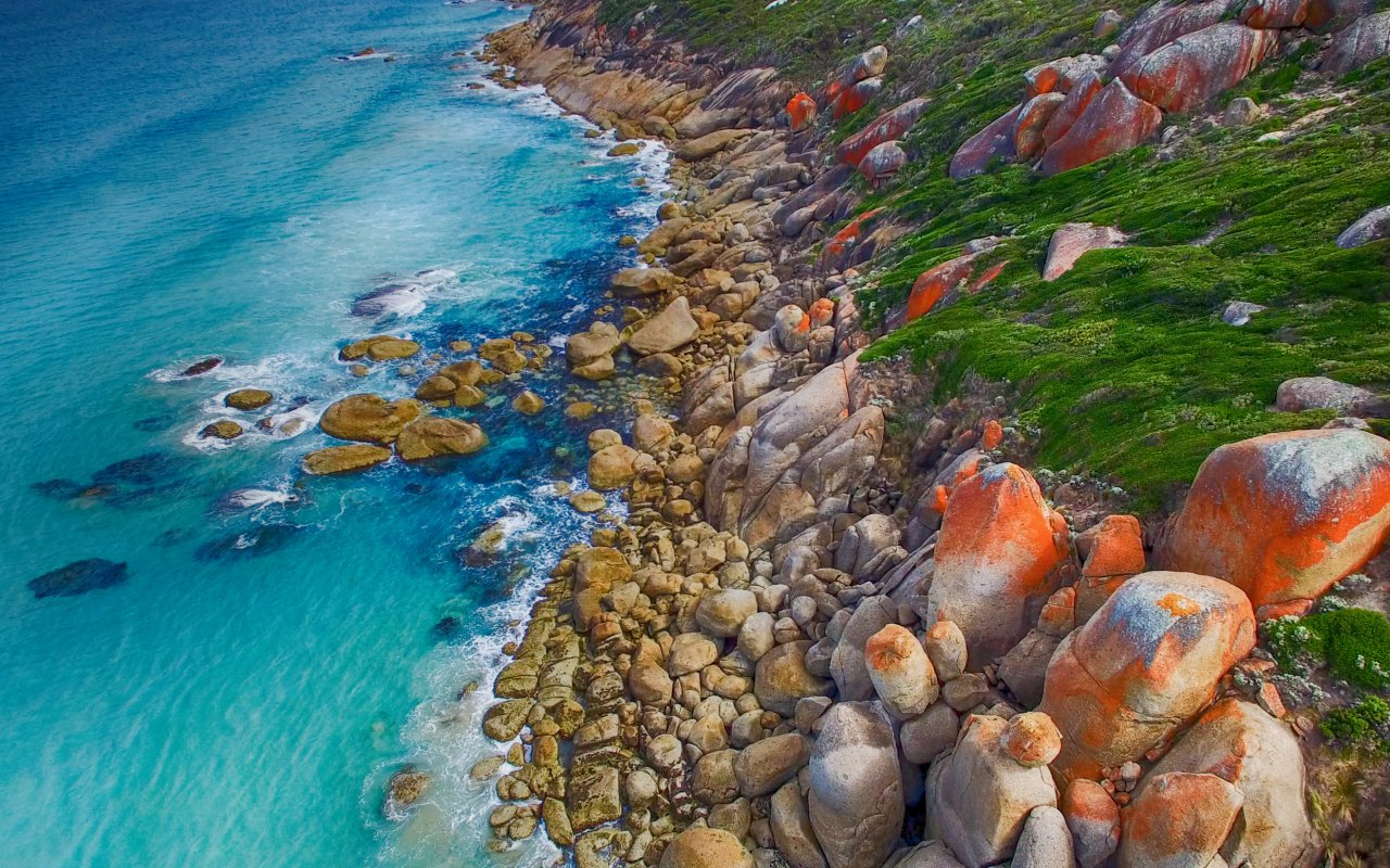 Wilsons Promontory coastline, vue en drone