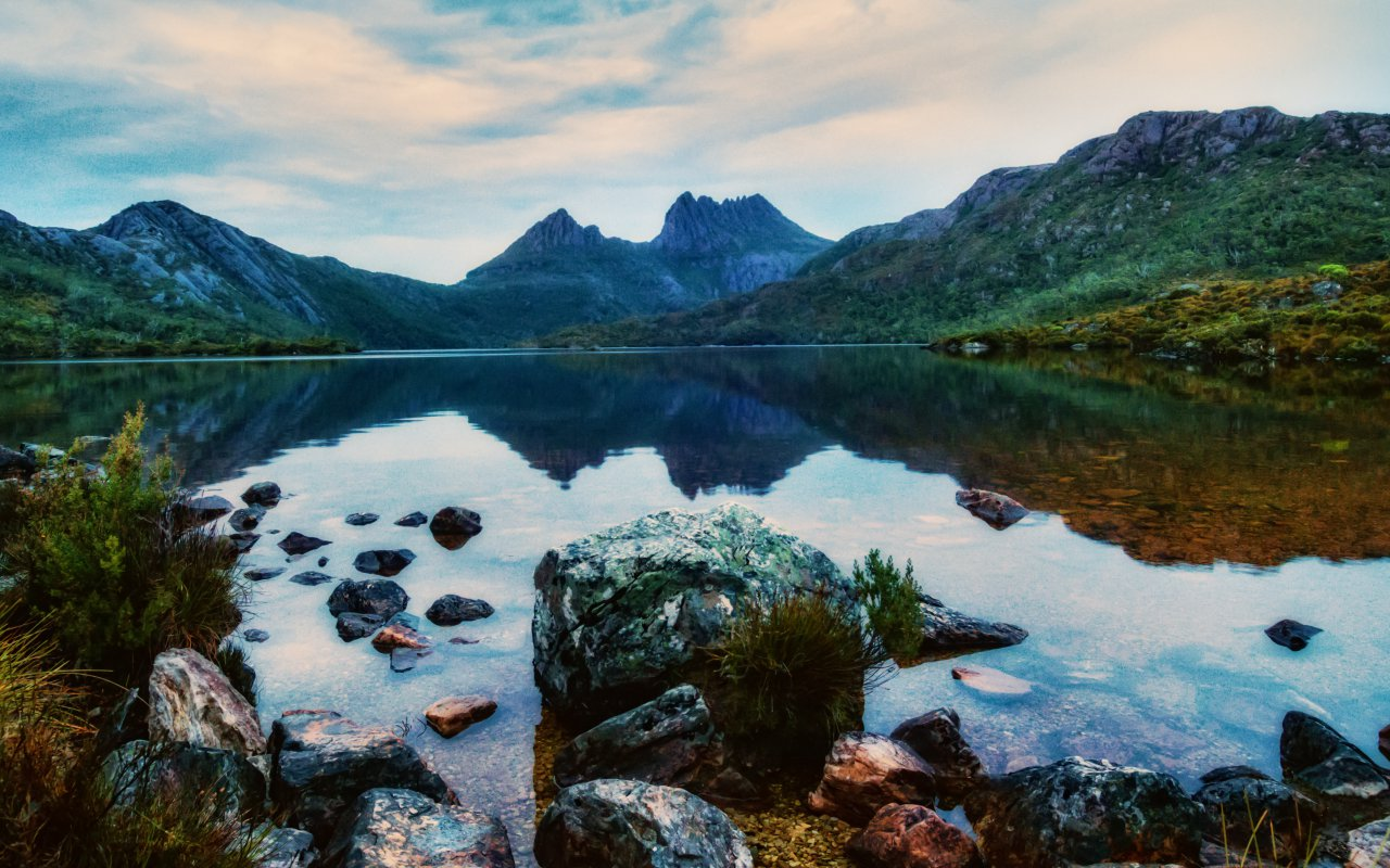 Cradle Mountain, Central Highlands region of the Australian state of Tasmania. The mountain is situated in the Cradle Mountain-Lake St Clair National Park