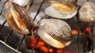 Barbecue grill cooking seafood